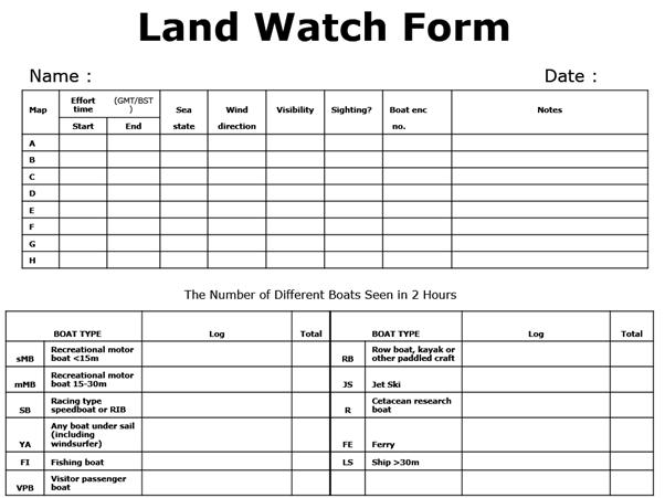 Land-watch form/ Sea Watch Foundation