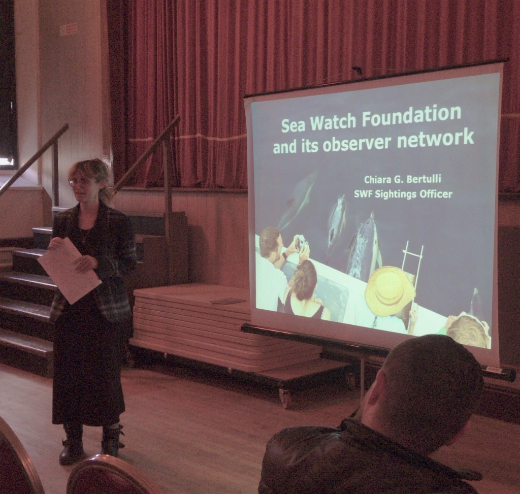 Chiara Bertulli gives her presentation. Ellie Richardson/ Sea Watch
