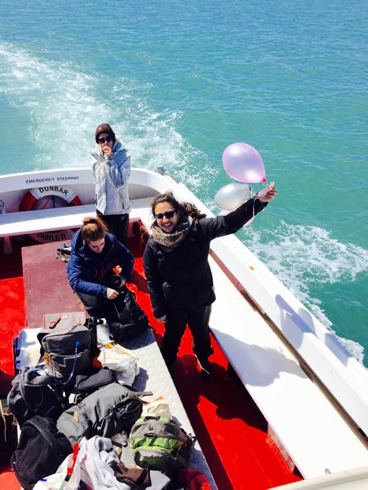 Volunteers removing plastic waste from the ocean on a recent boat survey / Leah Freshwater and Sea Watch Foundation