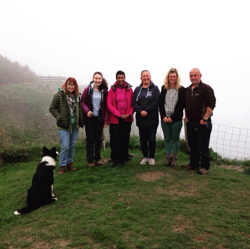 Chiara, Clare, Phil and other orca watchers at Windhaven Cafe. Copyright: C.G. Bertulli / Sea Watch Foundation