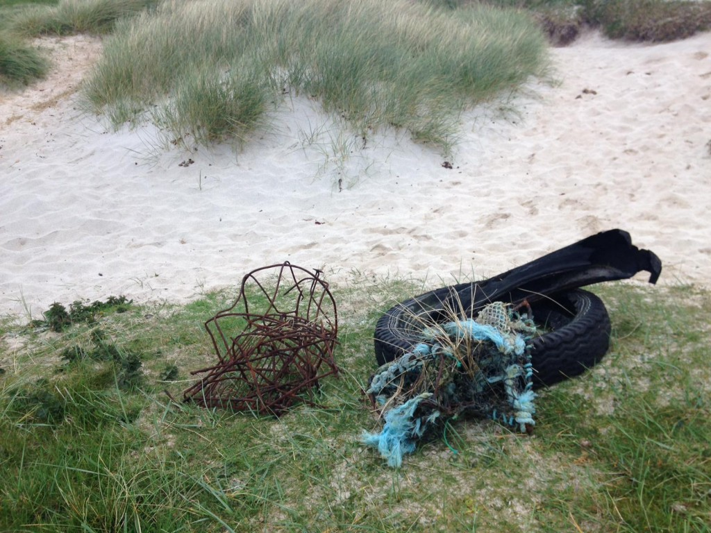 Car tyres and other items found on Sannick beach. Copyright: Chiara G. Bertulli / Sea Watch Foundation