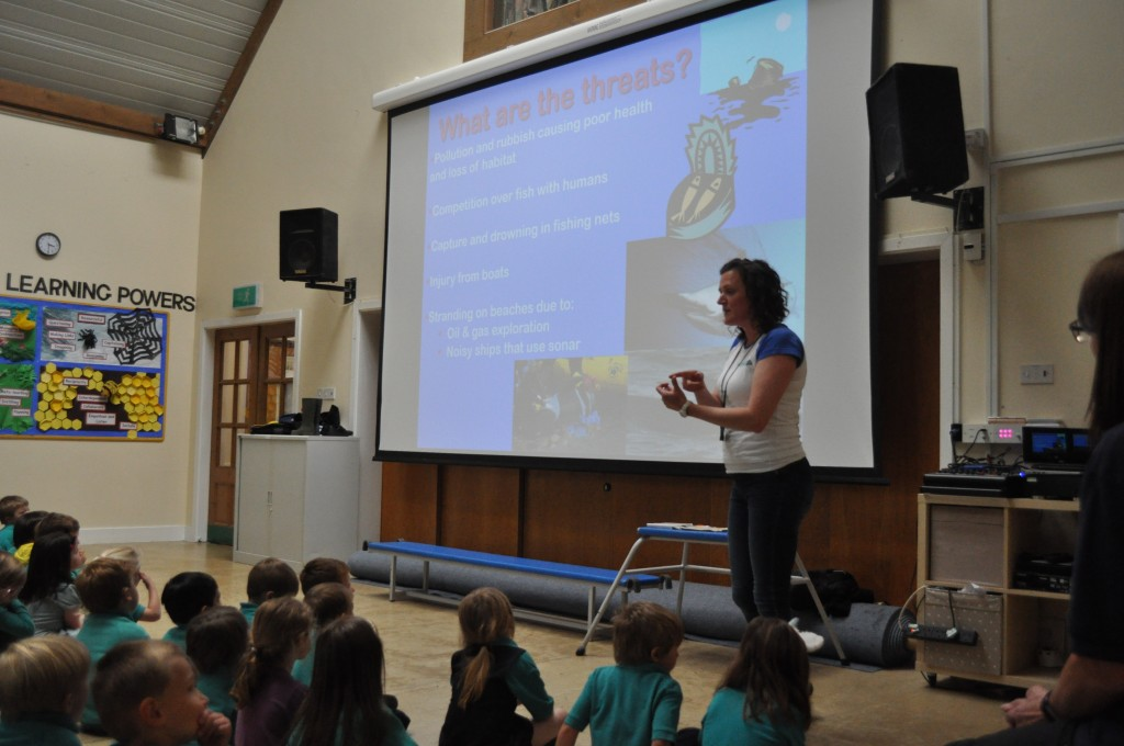 Catherine de Bertrand, Sea Watch's Regional Coordinator for Dorset, visiting the Prince of Wales Primary School on June 12th, 2019.