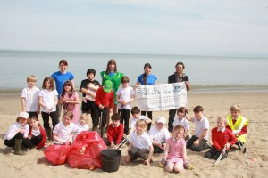 Sea Watch staff and Interns with pupils from New Quay School