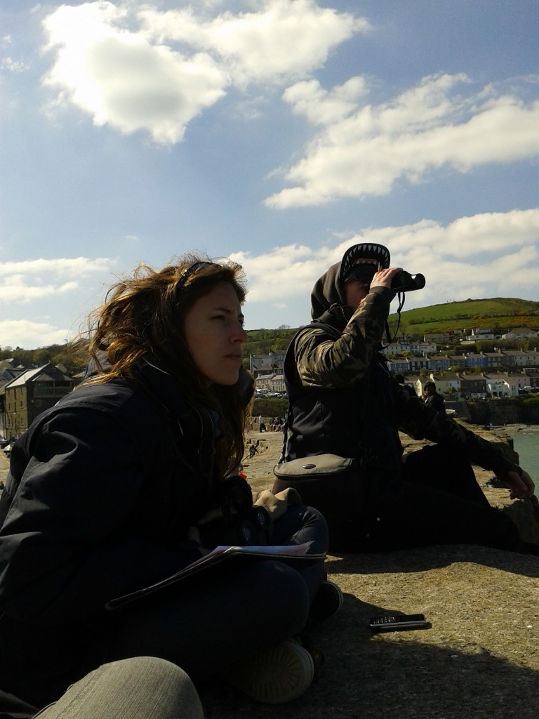 Ines and Toby keeping watch! SWF Interns can be seen on the New Quay Pier from 7am to 9pm!