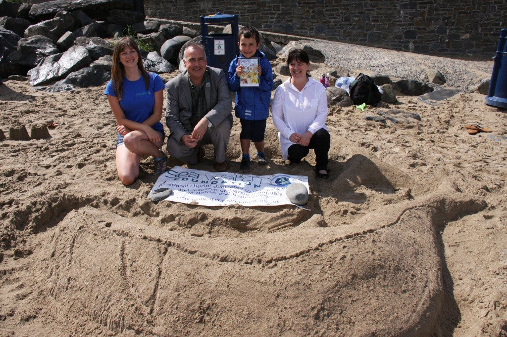 Sightings Officer Kathy James, MP Mark Williams and Kate with competition winner Gwilam MacDonald