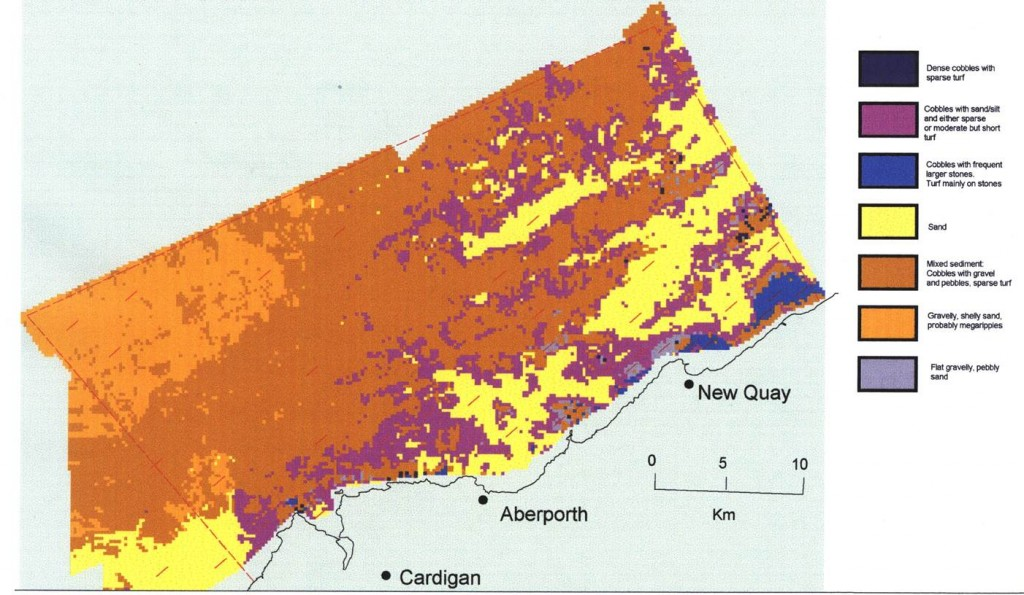 Sediment types in Cardigan Bay SAC. The bottlenose dolphins favour areas of mixed substrate – fine sand and rocky reefs