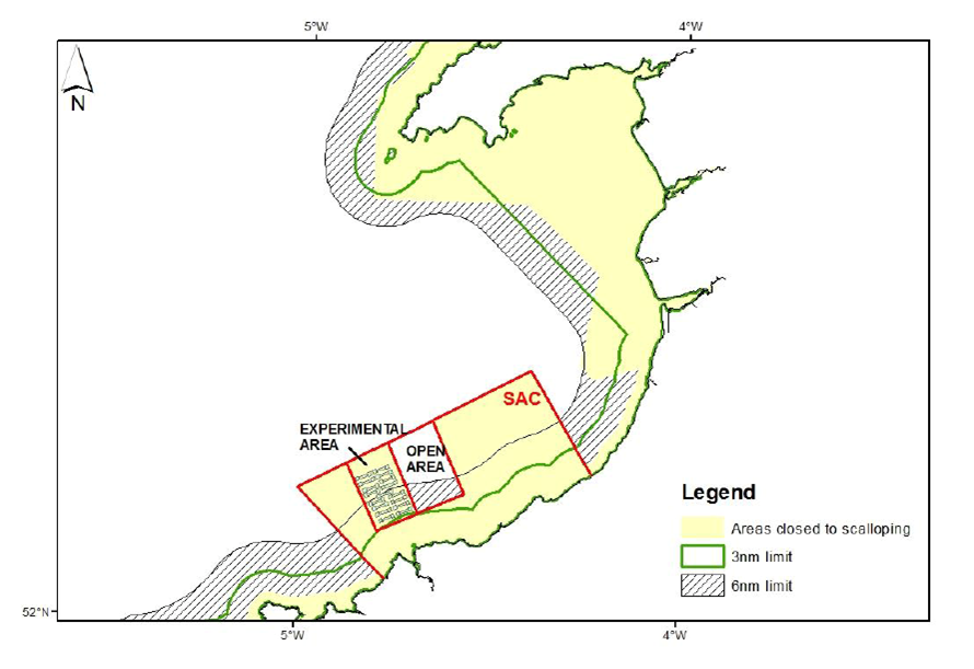 Map of Cardigan Bay SAC and the experimental area