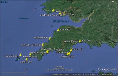 Map highlighting hot spots for viewing Common dolphins from august 2016-present. Created by Julie Hanks