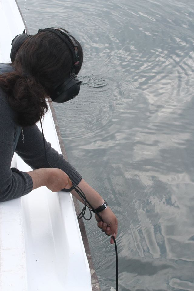 Sonia using the hydrophone