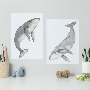 Set of two whales