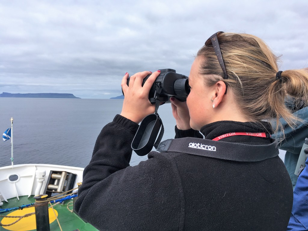 ORCA Anna Bunney on deck looking for wildlife_Loch Nevis_20th June 2017