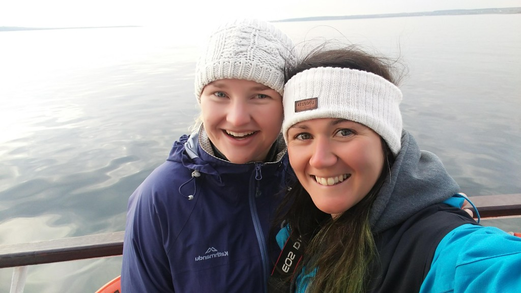 Tara McCallahan and Chloe Robinson on the ferry boat full of energy and excitement for the sighting of orcas.