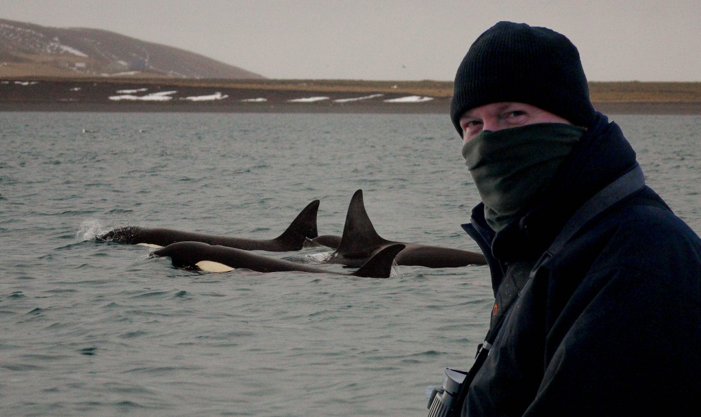 Carl Chapman watching Orca in Iceland. Photo credit: Carl Chapman.
