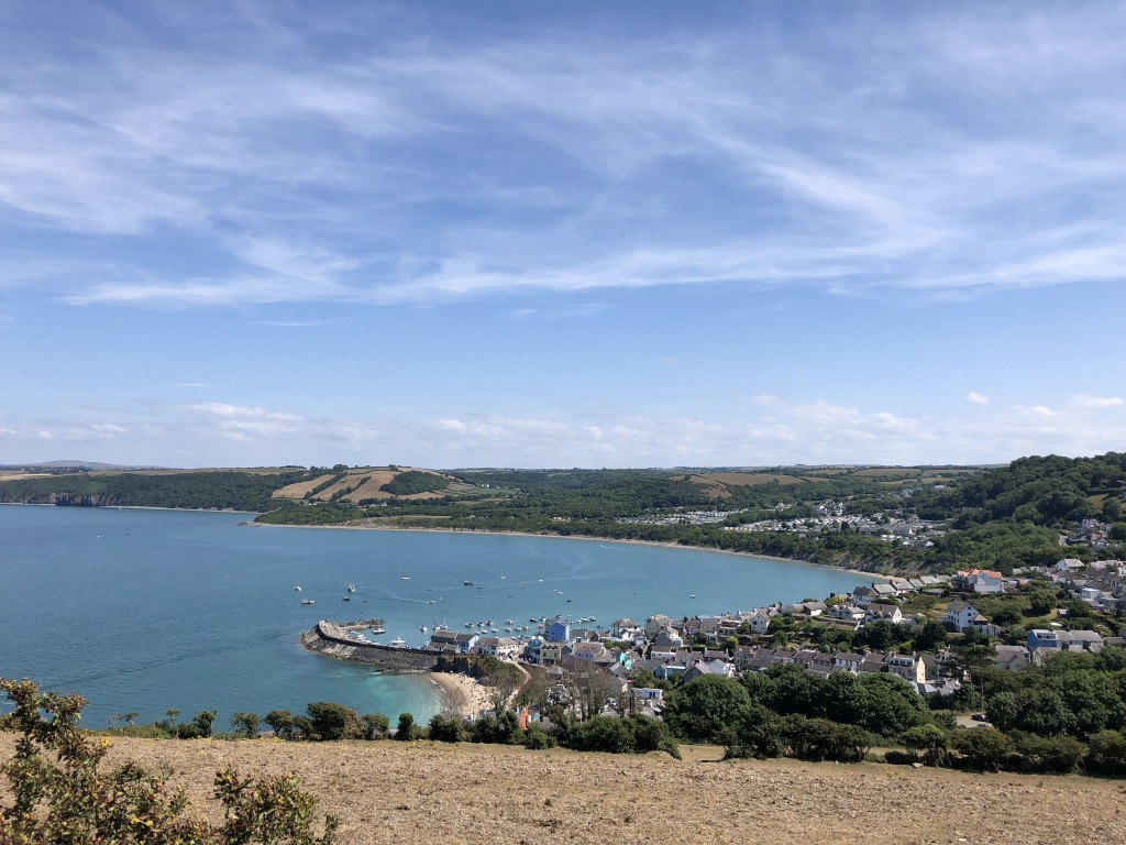 View of New Quay on the walk up to the cliff. Photo credit: Katy Alldridge.