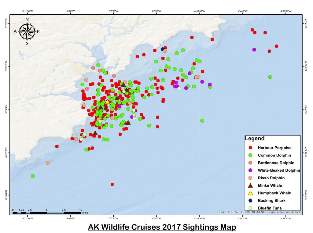 2017 Sightings. Map courtesy of AK Wildlife Cruises.