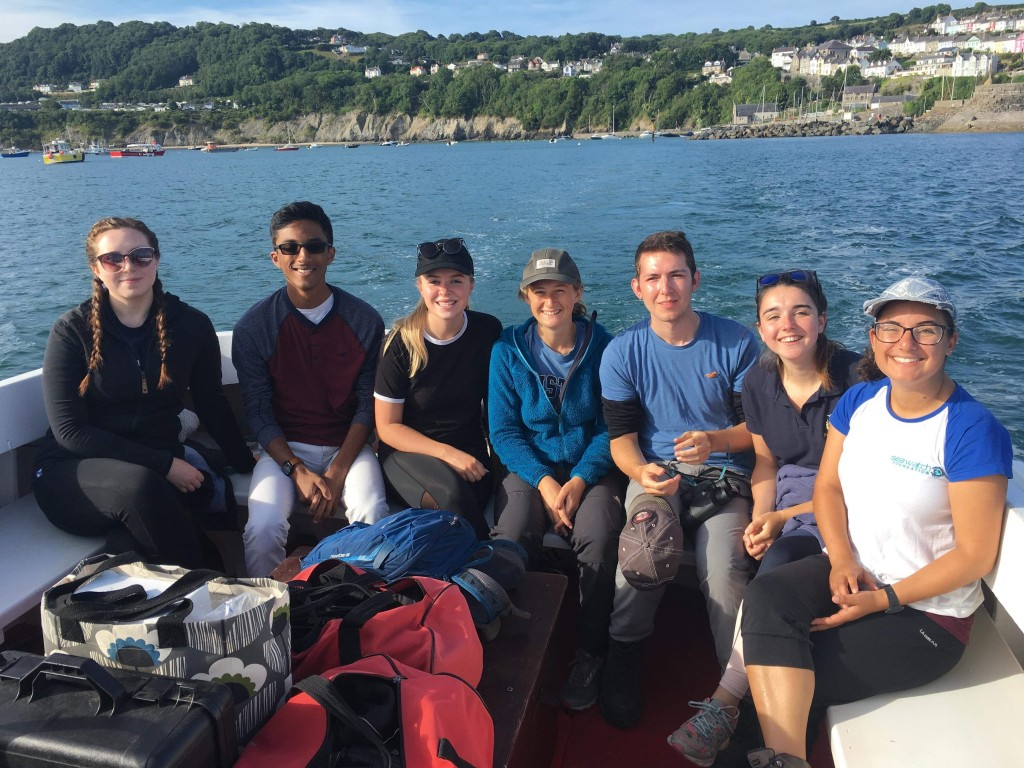 Myself and the period 3 research interns on boat-survey in Cardigan Bay. Photo credit: Natasha Hunt.